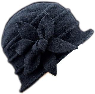 YSJOY Flower 100% Wool Dome Bucket Hat Winter Cloche Hat Fedoras Derby Hat