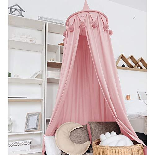 Dosel de cama de princesa con pompones Colgante de gasa Mosquitera para niños Castillo al aire libre de interior Tienda de juegos Tienda colgante Casa Decoración Rincón de lectura