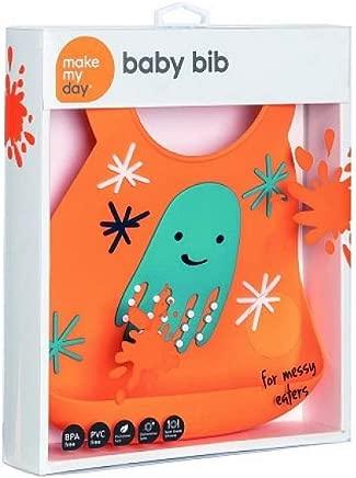 Makemyday Baby Bib, Octopus, Orange