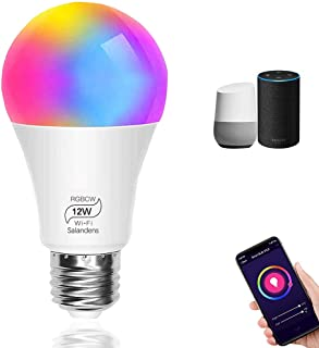 Bombilla LED Inteligente WiFi, Salandens 12W E27 Lámpara, WiFi Bombilla Luces Cálidas/Frías & RGB Funciona con Alexa,Googl...