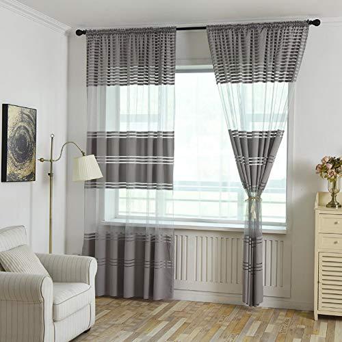 BOBOLover Voile Vorhang mit Ösen Streifen Transparent Optik Gardine aus Voile Ösenschal Transparent Wohnzimmer Fensterschal für Babyroom Schlafzimmer 1 STÜCK,270cm x 100cm (B x H) (Grau)