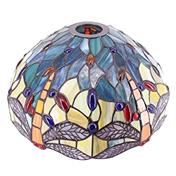 Tiffany Lamp Shade Replacement Only W12H6 Inch Sea Blue Stained Glass Dragonfly Lampshade 1-5/8-Inch Fitter Opening for Floor Arch Lamp Torchiere Lamp Ceiling Fixture Pendant Light S128 WERFACTORY