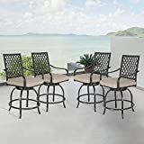 Peak Home Furnishings Outdoor Swivel Counter Stools Bar Stools Patio Metal Hight Bar Chair Set Bistro Chairs with Olefin Cushions and Armrest (Beige, Set of 4)