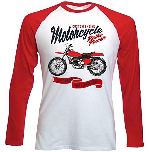 Teesandengines Bultaco pursang mk2 250cc Scrambler Motorcycle Retro Power Camiseta de Mangas roja largas t-Shirt Size Small