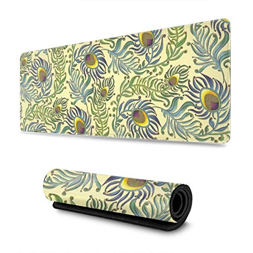 GamingMouse Pad Vintage Peacock Feathers Design Pattern XXL XL Large Gaming Mouse Pad Mat Long Extended Mousepad Desk Pad Non-Slip Rubber Mice Pads Stitched Edges (31.5x11.8x0.12 Inch)