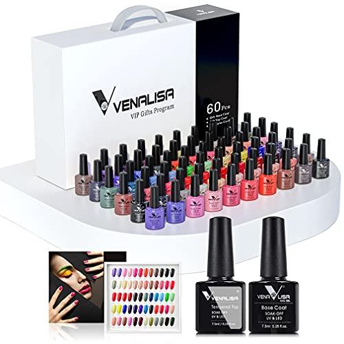 Kit de esmalte de uñas de gel VENALISA de 60 colores con tarjeta de color base y capa superior, UV LED Soak Off Gel Esmalte de uñas Esmalte de uñas Kit de manicura principiante