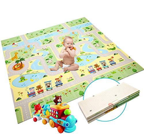 Alfombrilla de juego para bebé, extra grande, plegable, reversible, de espuma no tóxica, impermeable, para niños pequeños al aire libre o en interiores (180 x 200 x 1,5 cm)