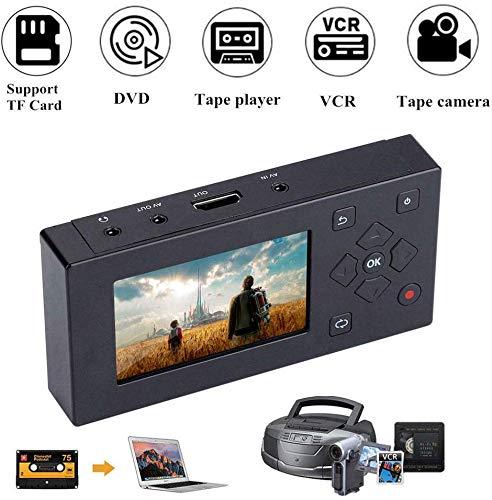 Tangxi Portátil 3 Pulgadas TFT Pantalla AV Grabador Convertidor de Audio y Video Captura de Video Reproductor,VHS a convertidor Digital para capturar Video Desde VCR,Cintas VHS, Hi8,videocámara,DV