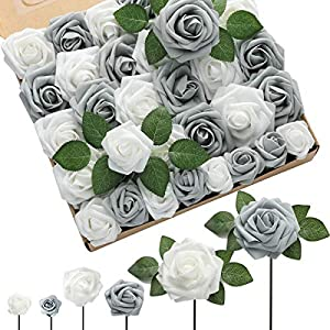 DerBlue 60pcs Three Different Sizes Artificial Roses Flowers Fake Roses Bulk w/Stem for DIY Wedding Bouquets Centerpieces Arrangements Baby Shower Cake Flower Decorations (Shimmer Silver&Grey)