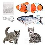 ZITFRI Katzspiegelzeug Elektrisch Fisch 2 Stück Katze Interaktive Spielzeug mit Katzenminze Fisch Spielzeug mit USB Fischspiegelzeug für Katze zu Spielen, Beißen, Kauen(28cm, Orange & Blau)