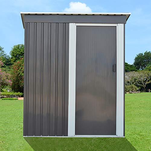 Outdoor Backyard Garden Steel Tool House Warehouse, Garden Shed 3FT X 5FT Pent Roof Outdoor Tools Store Storage with Sliding Door, Grey