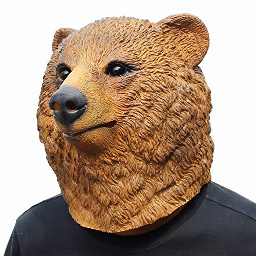 CreepyParty Deluxe Halloween Costume Party Latex Animal Head Mask Brown Bear