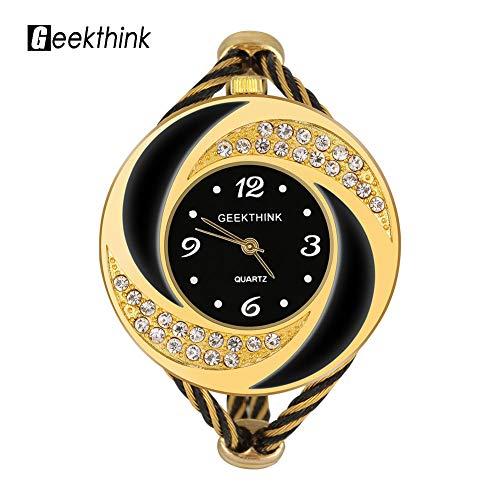 WLH Geekthink Reloj Analógico De Cuarzo con Diamantes De Imitación, Brazalete Abierto, Aleación, Caja De Torbellino, Reloj De Pulsera, Oro Negro para Mujer