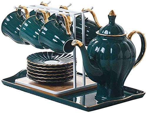 Conjunto de té Taza de Tea Disco Bandeja Cerámica Coffee Tea Set Tetera High Pot Home Tarde Tea Set,Green