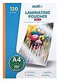 Láminas Plastificadoras A4 Deskit, acabado brillante, 120 hojas, 150 micras – Presentaciones claras y duraderas – Rigidez ideal para uso diario