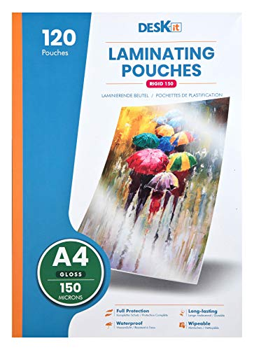 A4 Laminierfolien für Laminiergerät 150 Mic, Büro und Privat, Einladungen drucken, 120 Stuck, Deskit