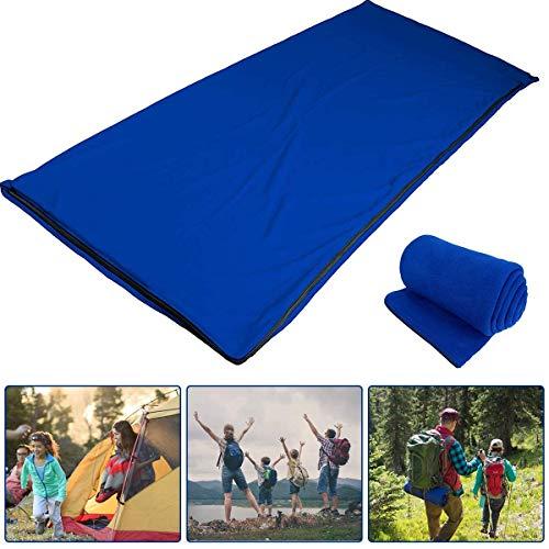 Yuanj Fleece Schlafsack für Erwachsene und Kinder, Ultraleicht Schlafsack Inlett, Deckenschlafsäcke Inlay Liner für Camping Outdoor Reise Bergsteigen Wandern (Navy blau)