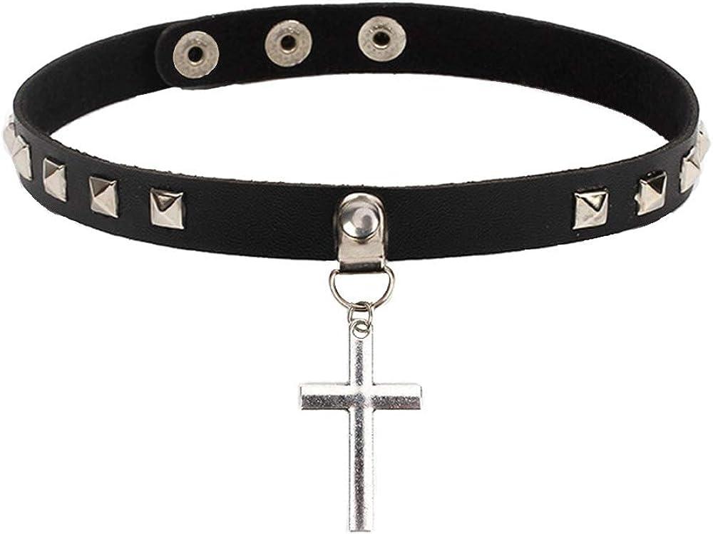Cross PU Leather Choker Adjustable Necklace Punk Goth Collar Chain 3D Cross Charm Square Studs Choker Black
