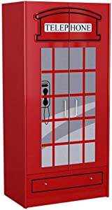 Vipack SCWRLB London Wardrobe Approx. 90 x 190 x 56 cm Varnished Red