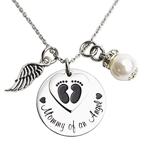 LParkin Mommy of an Angel Necklace Infant Child Loss Memorial Pregnancy Loss Miscarriage Stillborn (Necklace)