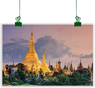 Unpremoon Asian Canvas Art Painting Yangon Myanmar View of Shwedagon Pagoda at Dusk Golden Pagoda Towers Image Room Decor Rose Marigold Green W 36