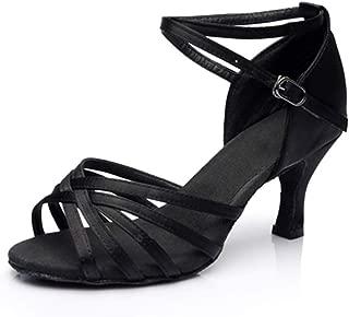 Ballroom Dance Shoes Women Latin Salsa Bachata Shoes Suede Sole Wedding Performance Dance Shoes 2.76'' Heel