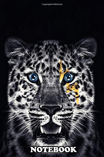 """Notebook: Black And Whit Jaguar Portrait With Blue Eyes , Journal for Writing, College Ruled Size 6"""" x 9"""", 110 Pages"""