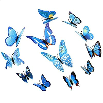 Amaonm? 24pcs 3d Vivid Special Man-made Lively Butterfly Art DIY Decor Wall Stickers Decals Nursery Decoration, Bathroom D?cor, Office D?cor, 3d Wall Art, 3d Crafts for Wall Art Kids Room Bedroom Living Room Decor