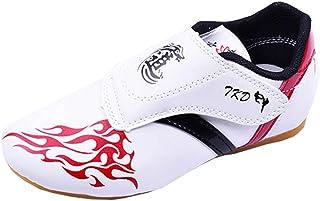 YXHMNB Taekwondo Shoes, Martial Arts Shoes Velcro Light Soft Bottom Training Shoes Men and Women Teens Karate Tai Chi Kung...