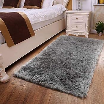 YOH Luxury Fluffy Rugs Faux Fur Sheepskin Area Rugs Decorative Home Floor Carpet Living Room Man Bedroom Bedside Nursery Decor Furry Rug 3ft x 5ft Grey