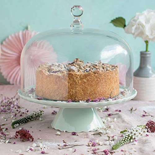 Home of Cake Zauberhaft: Tortenplatte Sweet Flower Medium in Mintgrün mit Glashaube, Ø 28 cm