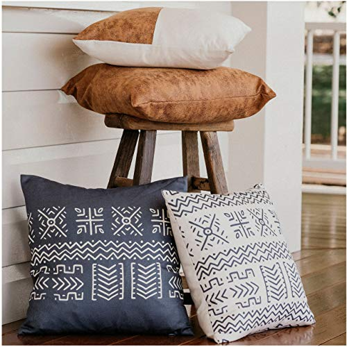 WILDIVORY Decorative Throw Pillow Covers for Couch, Boho Pillow Covers 18x18 Set of 4, Modern Farmhouse Pillow Covers for Living Room, Bed, Boho Decor, Boho Throw Pillows, Faux Leather Pillow Covers