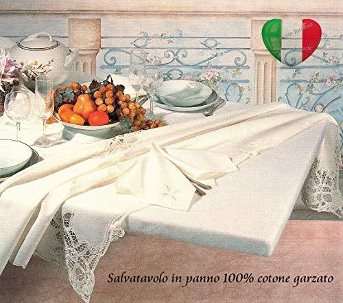 SpazioTessile Copritavolo Mollettone Salvatavolo Rettangolare 100% Cotone Garzato con Elastico (120x160 (x tavoli 90x130))