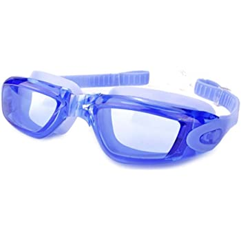 AINAAN Swim Goggles, No Leaking Anti-Fog Indoor Outdoor Swimming Goggles with UV Protection Mirrored Clear Lenses for Adult Women Men Youth Kids(Blue)