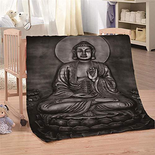 Ahhblan Kuscheldecke Flauschige Decke Buddha Figur Wohndecke Microfaser Flanell Decke Super Weiche Fleece Sofadecke Überwurfdecke für Kinder Kuschelige Reisedecke 150x200 cm
