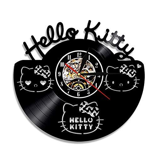 N/Z Reloj de pared para niños y niñas, diseño de gato helloKitty