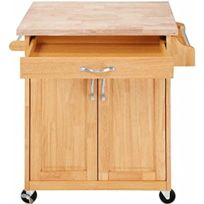 Kitchen Islands and Carts Cabinets and Storage Solutions with Drawers Towel Rack Solid Wood Natural Finish from Mainstays