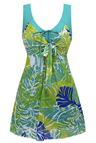 Wantdo Women's Plus Size Swimdress Flower Printed Swimwear Cover Up Swimsuits Greenbanana US 18W-20W