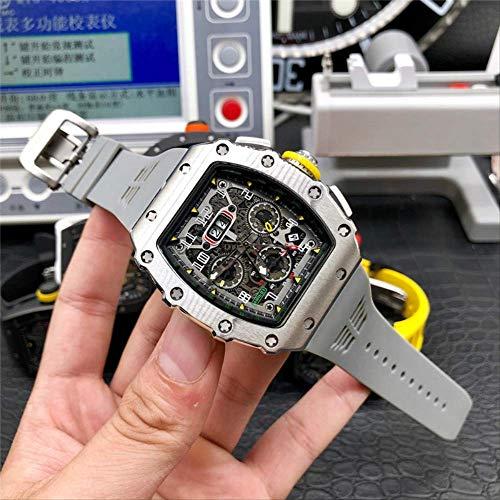 JFfactory Luxury Limited Edition Skeleton Automatic Watch Men Orologi Orologio da Polso Meccanico Fondo in Vetro di Gomma Grigio nero2