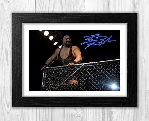 Póster de Big Show WWE Wrestler Reproducción autógrafo de fotos A4 (marco negro)