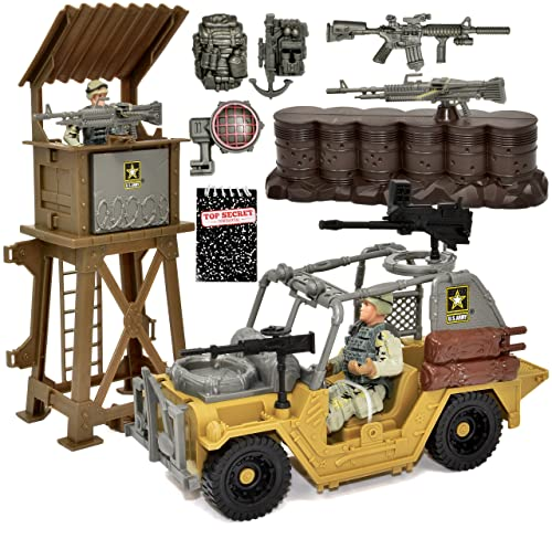 US Army Military Toy Play Set with Watchtower Military Vehicle Action Soldier Figures and Weapon Accessories, Gift Boutique Top Secret Notepad, 11 Piece Elite Force Army Set for Boys Kids and Children