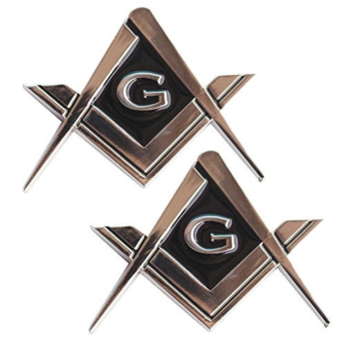 CREATRILL 2 Pack 2.75' Chrome Plated Masonic Car Emblem Mason Square and Compasses Auto Truck Motorcycle Decal Gift Accessories