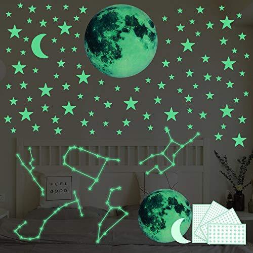 467pcs Leuchtsterne Leuchtpunkte für deinen Sternenhimmel - DIY selbstklebend und fluoreszierend Leuchtaufkleber, Wandaufkleber DIY für Schlafzimmer Jungen Mädchen Kinderzimmer