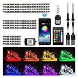 HYB 12Pcs Motorcycle LED Light Kit Strips with APP IR RF Wireless Remote Controllers Multi-Color Underglow Neon Ground Effect Atmosphere Lights Lamp for Harley Davidson Honda Kawasaki Suzuki