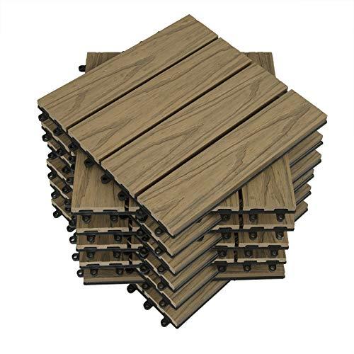 WOLTU 11 x Premium WPC Terrassenfliesen 30x30cm 3D Holz Optik mit Relief, Balkonfliesen Garten Fliesen Bodenbelag Hellbraun (1 m²)
