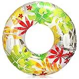 com-four® Pneumatico da Nuoto con Motivo a Foglie - Anello da Nuoto per Il Divertimento del Nuoto - Anello Gonfiabile per Bambini e Ragazzi (01 Pezzi - Foglie)