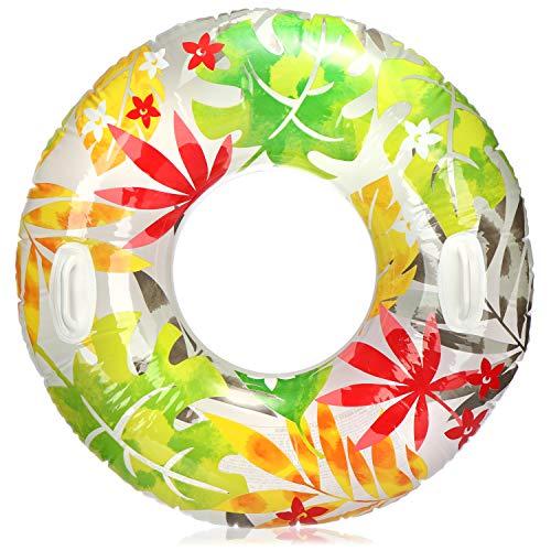 com-four® Schwimmreifen mit Blätter Motiv - Schwimmring für Badespaß - Wasserring aufblasbar für Kinder und Jugendliche (01 Stück - Blätter)
