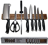 Walnut wood magnetic knife strip. Replace knife block with this magnetic knife holder. Great for organizing kitchen knives and metal tools. Magnetic strip comes in giftbox. Premium Present brand. 17in