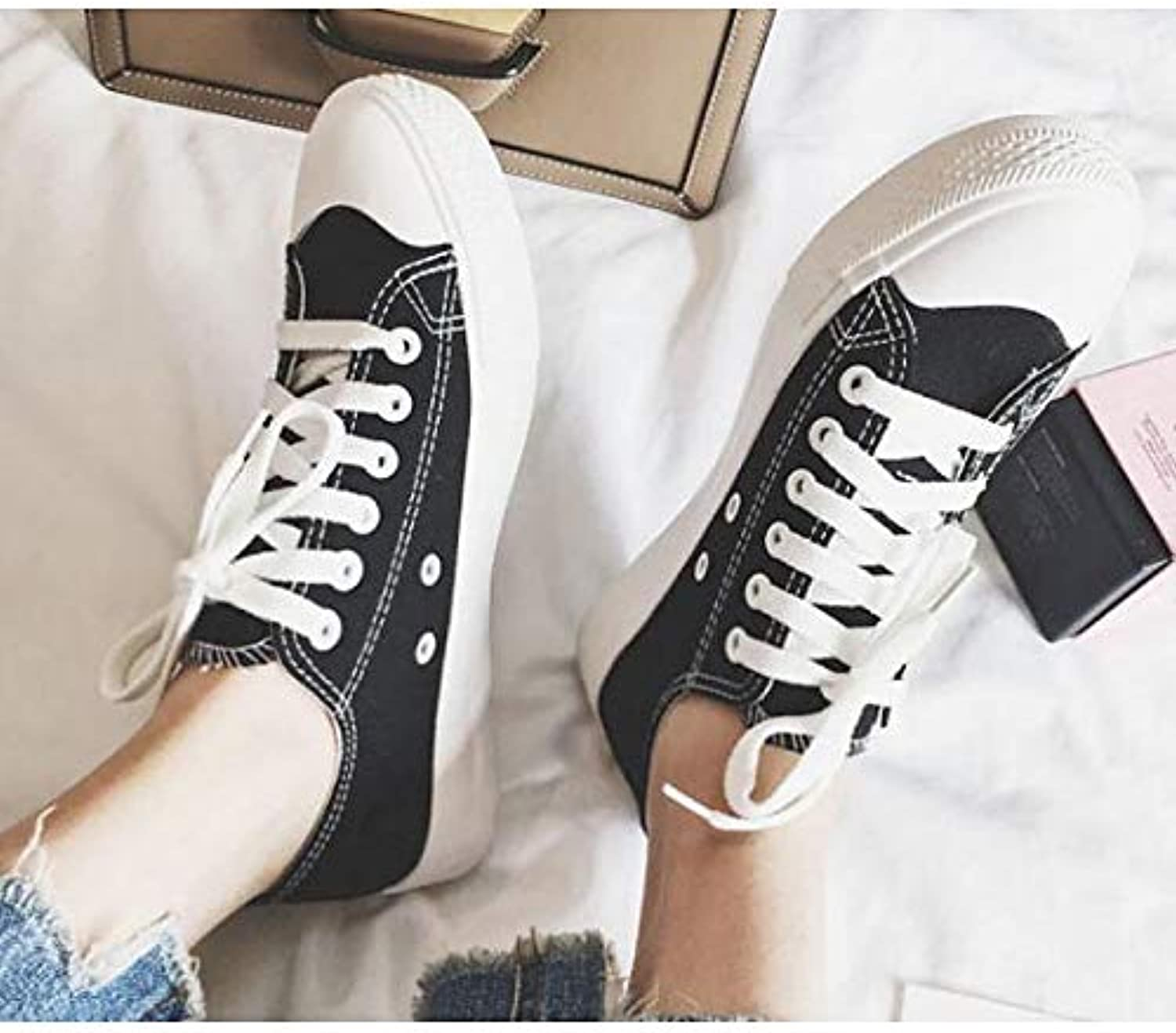 Women's Comfort shoes Canvas Spring & Summer Sneakers Flat Heel White Black   Yellow