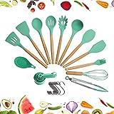 crucible cookware set di utensili per cucinare con testa in silicone, manico in legno e contenitore in legno (23 pezzi + ganci pendenti bonus) - set di utensili da cucina - verde